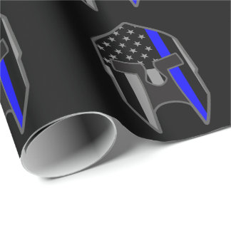 THIN BLUE LINE American Flag Spartan Helmet Wrap Wrapping Paper