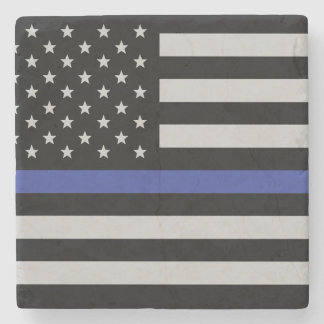 Thin Blue Line - American Flag Stone Coaster