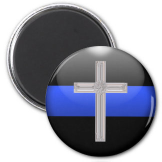 Thin Blue Line and Crystal Safety Prayer Cross 6 Cm Round Magnet