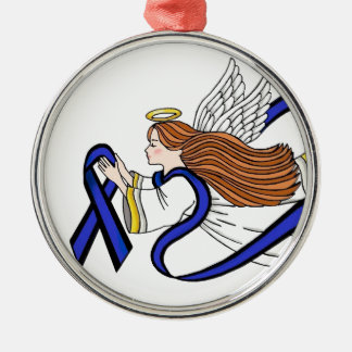 Thin Blue Line Angel Silver-Colored Round Decoration