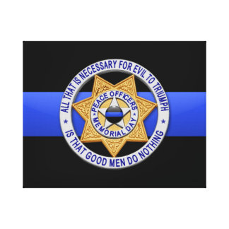 Thin Blue Line & Badge Gallery Wrapped Canvas