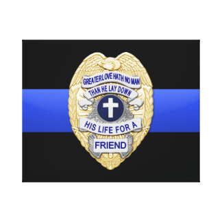 Thin Blue Line & Badge Canvas Print