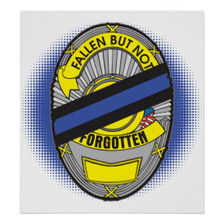Thin Blue Line Badge Poster