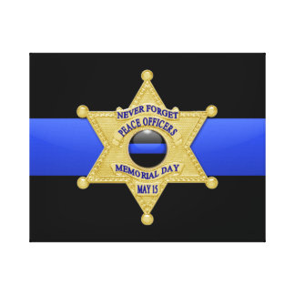 Thin Blue Line & Badge Stretched Canvas Prints