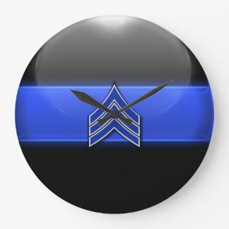 Thin Blue Line - Blue/White Sergeant Stripes Large Clock