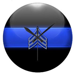 Thin Blue Line - Blue/White Sergeant Stripes Wallclocks