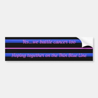 Thin Blue Line - Breast Cancer Bumper Sticker