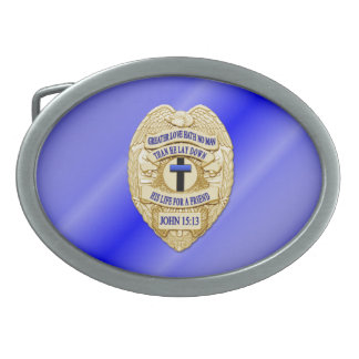 Thin Blue Line Button Belt Buckle