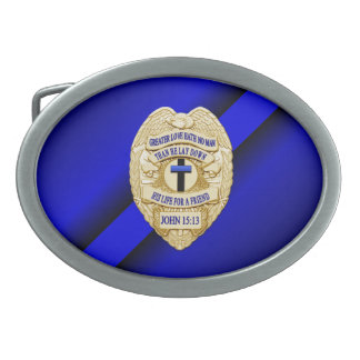 Thin Blue Line Button Belt Buckle
