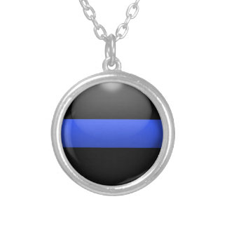 Thin Blue Line Button Silver Plated Necklace