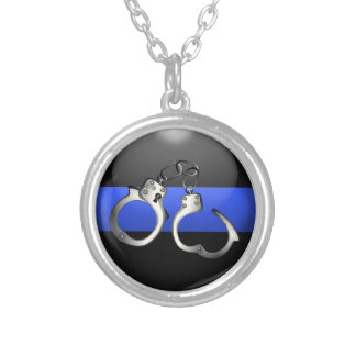 Thin Blue Line Button with Handcuffs Silver Plated Necklace