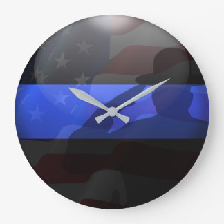 Thin Blue Line Campaign Hat Flag Salute Large Clock