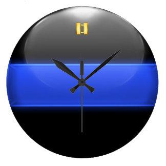 Thin Blue Line Captain Insignia Rank Large Clock