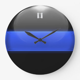 Thin Blue Line Captain Insignia Rank Large Clock