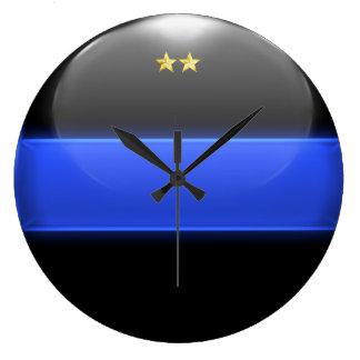 Thin Blue Line Chief Insignia Rank Large Clock