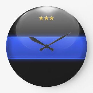 Thin Blue Line Chief Insignia Rank Large Clock