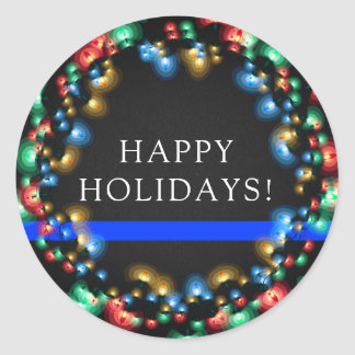 Thin Blue Line Christmas ColorLights Wreath Police Classic Round Sticker