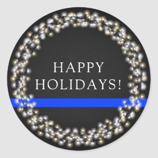 Thin Blue Line Christmas Lights Wreath Police Classic Round Sticker