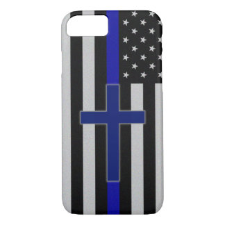 Thin Blue Line Cross - Blue Cross iPhone 7 Case