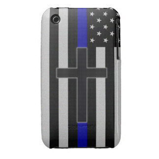 Thin Blue Line Cross iPhone 3 Case-Mate Cases