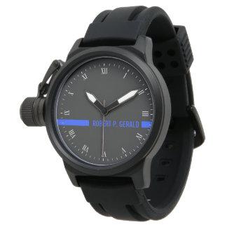 Thin Blue Line Custom Name Stripe Wrist Watches