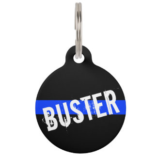 Thin Blue Line Customized Pet Name Pet ID Tags