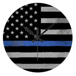 Thin Blue Line - Distressed Tattered Flag Clocks