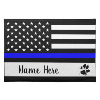 Thin Blue Line Dog Placemat - Police Officer