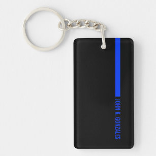 Thin Blue Line Ending With a Custom Text or Name Key Ring