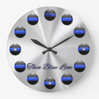 Thin Blue Line Flag and Stars Inlay Buttons Wallclock