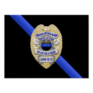 Thin Blue Line Flag & Badge Poster