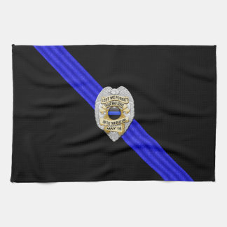 Thin Blue Line Flag & Badge Tea Towel