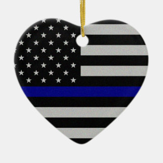 Thin Blue Line Flag Christmas Ornament