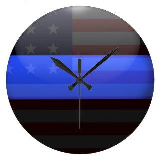 Thin Blue Line Flag Large Clock