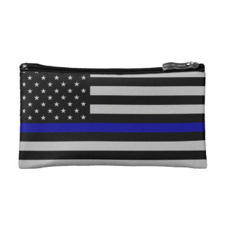 Thin Blue Line Flag Makeup Bag