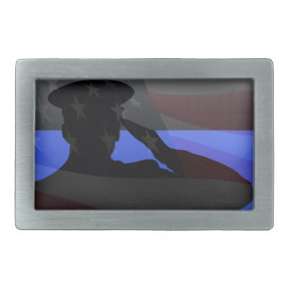 Thin Blue Line - Flag Salute Belt Buckle
