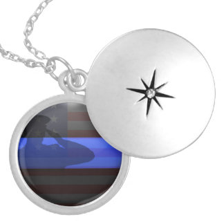 Thin Blue Line - Flag Salute Silver Plated Necklace