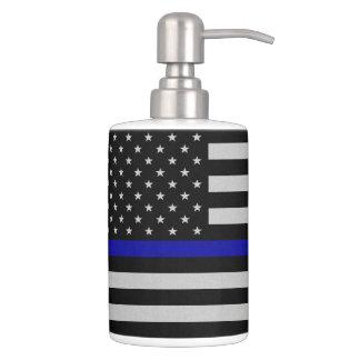 Thin Blue Line Flag Soap Dispenser And Toothbrush Holder