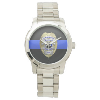Thin Blue Line Funny Retired Police Badge Watch