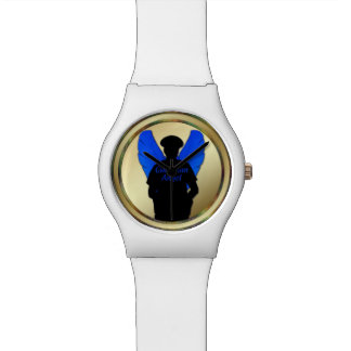 Thin Blue Line Gold Coin Guardian Angel Watch