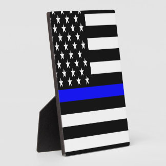 Thin Blue Line Graphic on a US American Flag Photo Plaques