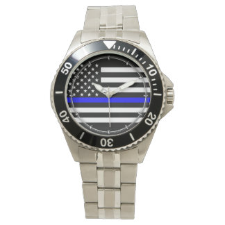 Thin Blue Line Graphic on a US American Flag Wristwatches