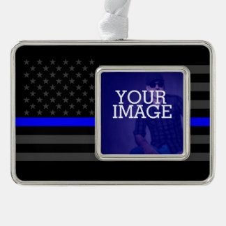Thin Blue Line Grey US Flag Your Image on a Silver Plated Framed Ornament