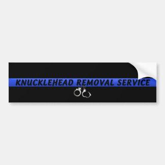 Thin Blue Line Knucklehead Removal Service Bumper Sticker