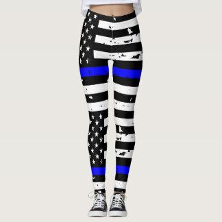 Thin Blue Line Leggings - Horizontal