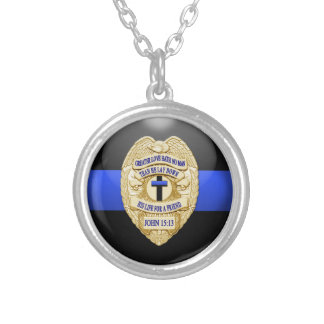 Thin Blue Line & Lest We Forget Badge Silver Plated Necklace