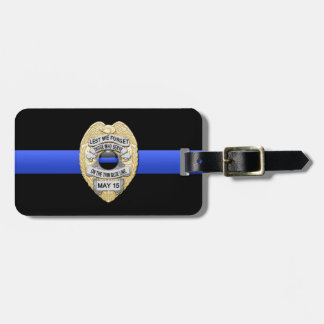 """Thin Blue Line """"Lest We Forget"""" Police Badge Luggage Tag"""