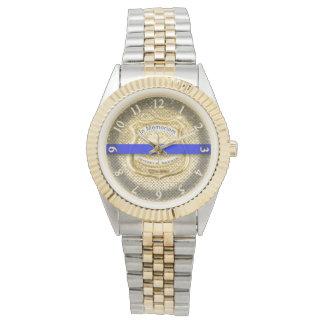 Thin Blue Line Memorial Tribute Gold Wristwatch