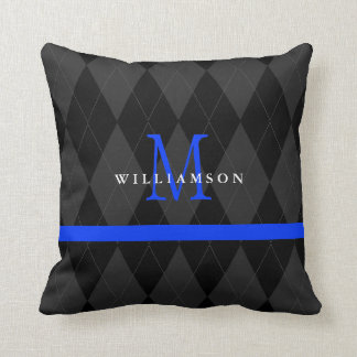 Thin Blue Line Monogram Black Argyle Pattern Cushion