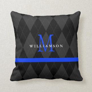 Thin Blue Line Monogram Black Argyle Pattern Throw Pillow